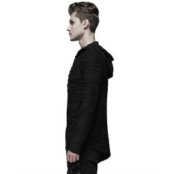 Black 'Current' Hooded Assymetric Sweater