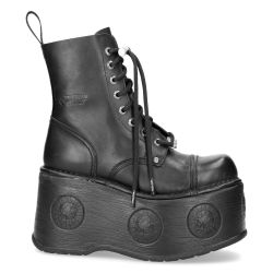 Bottines Plateformes New Rock Newmili en Cuir Nomada Noir