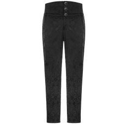 Black Retro Jacquard 'Nocturn' High Waist Pants