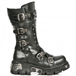 Black Itali Leather New Rock Metallic Boots