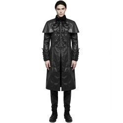 Black Vegan Leather 'The Lannister' Long Gothic Men's Coat