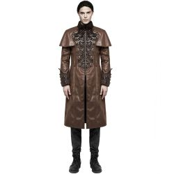 Manteau Long Steampunk 'The Lannister' en Cuir Vegan Marron