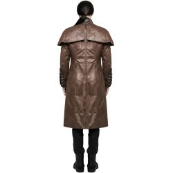 Brown Vegan Leather 'The Lannister' Long Steampunk Men's Coat