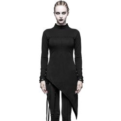 Black Asymmetric Long Sleeves 'ForgetMeNot' Top