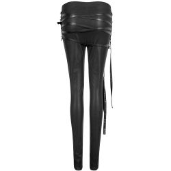 Black 'Straparella' Leggings with Straps and Buckles