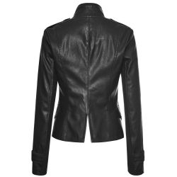 Black Vegan Leather 'Vega' Jacket