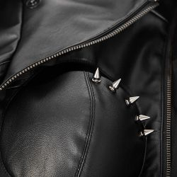 Black Vegan Leather 'Xena' Jacket with Spikes