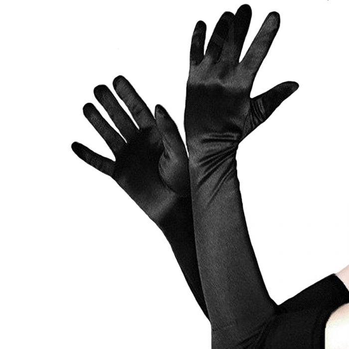 Long Satin Evening Opera Gloves