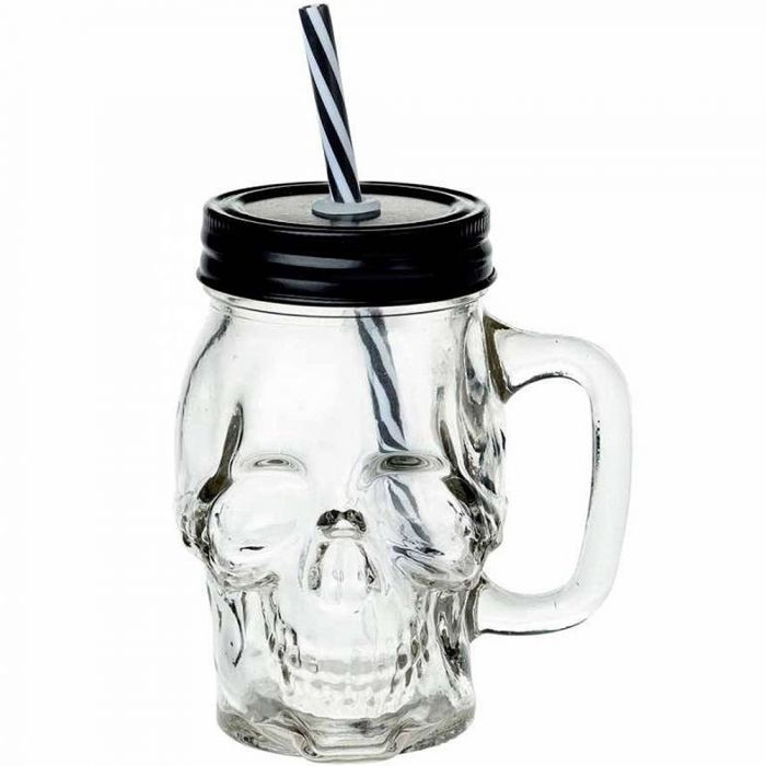 Glass Skull Drinking Jar with Lid and Straw