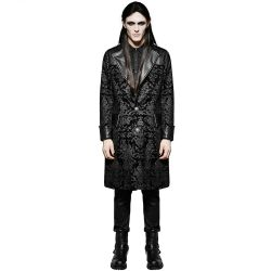 Black Brocade 'Asmodey' Knee Length Jacket
