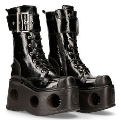 Black Crust and Patent Leather New Rock Metallic Platform Boots with Big Buckle