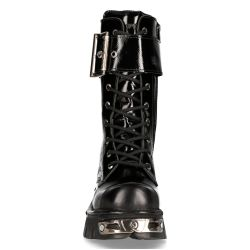 Black Crust and Patent Leather New Rock Metallic Boots with Big Buckle