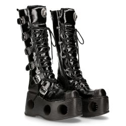 Black Patent Leather New Rock Metallic High Platform Boots