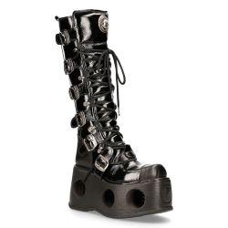 Black Patent Leather New Rock Metallic High Platform Boots