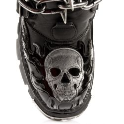 Black Itali and Patent Leather Skull New Rock Metallic Boots with Chains and Nails
