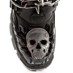 Bottes New Rock Metallic Itali Noir et Skull en Cuir Noir Verni avec Clous et Chaînes