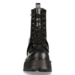 Black Itali Leather New Rock Metallic Ankle Boots