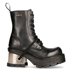 Bottines New Rock Metallic en Cuir Itali Noires