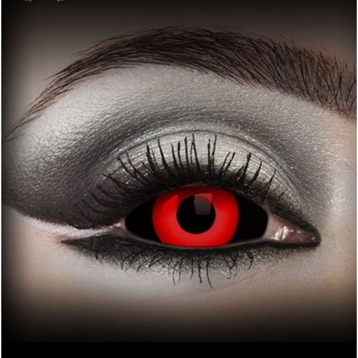 Red and Black 'Gremlin' Sclera Contact Lenses
