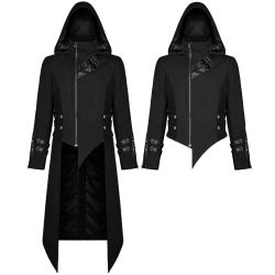 Black Hooded 'Black Dagger' Jacket-Coat