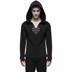 Black 'Mad Hatter' Steampunk Hooded Top