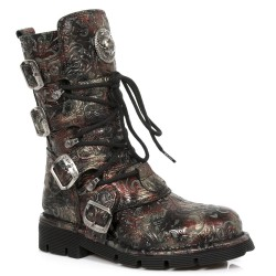 Bottes New Rock Comfort Light en Cuir Vintage Flower Rouge