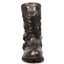 Red Vintage Flower Leather New Rock Comfort Light Boots