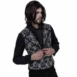 Black and White Victorian 'Westeros' Jacquard Vest