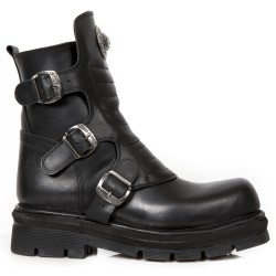 Bottines New Rock Comfort Light en Cuir Nomada Noir