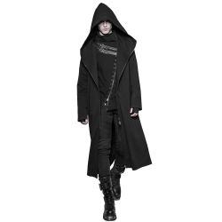Long Manteau Dark Series à Capuche 'Black Plague' Noir