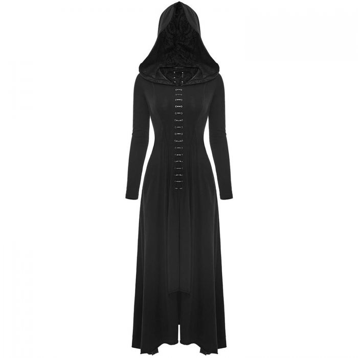 Black 'Bagira' Long Hooded Gothic Dress