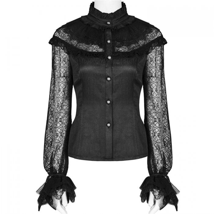 Black Lace and Jacquard 'Vitrage' Victorian Gothic Blouse