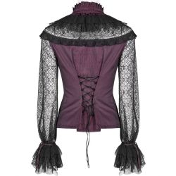 Black Lace and Red Jacquard 'Vitrage' Victorian Gothic Blouse