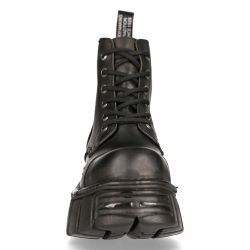 Black New Rock Metallic Ankle Boots in Leather