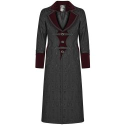 Black and Burgundy 'Grimm' Victorian Gothic Style Coat