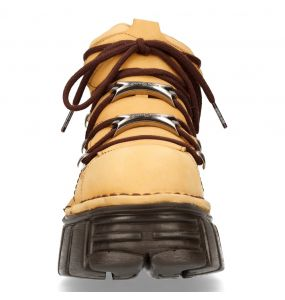 Beige and Brown Leather New Rock Metallic Shoes