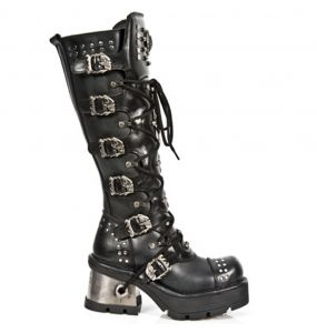 Black Itali and Nomada Leather New Rock Metallic High Boots