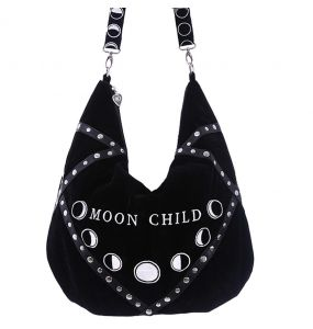Sac en Velours Noir Brodé 'Moon Child'