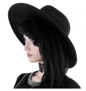 Chapeau Gothique 'Witch' Noir à Large Bords