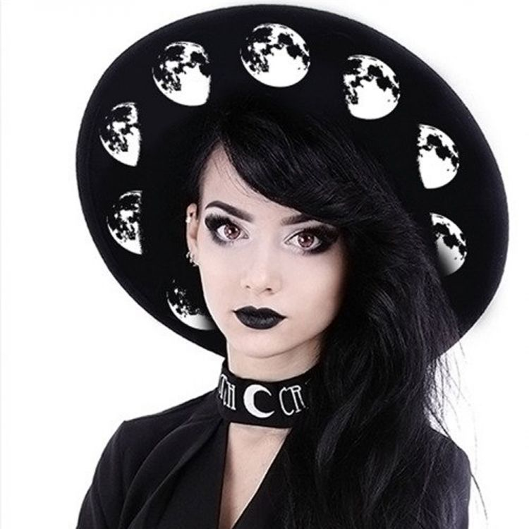 Black Gothic 'Moon Phases' Wide Brim Hat