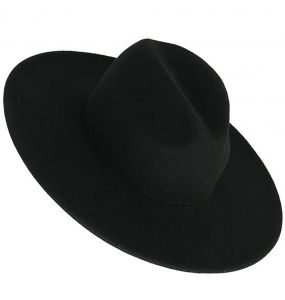 Chapeau Gothique 'Moon Phases' Noir à Large Bords