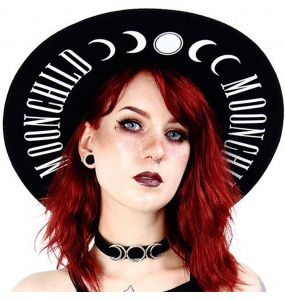 Black Gothic 'Moon Child' Wide Brim Hat