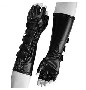 Men's Gothic Gloves 'Predator' with Buckles and Spikes