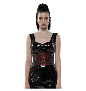 Red and Black 'Techno Geisha' Females Corset Belt