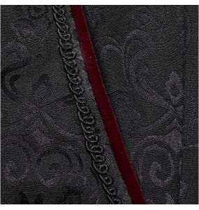 Black 'Goth Blood' Jacquard Pants with Black and Red Lace