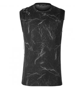 Black 'Lightning Punk' Sleeve Less T-Shirt