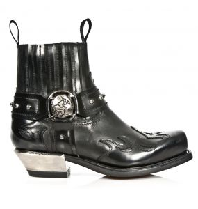 Bottines New Rock West en Cuir Antik et Itali Noires