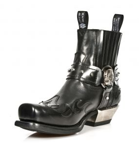 Black Itali and Antik Leather New Rock West Ankle Boots