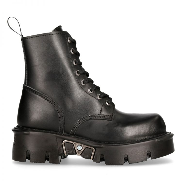 Black New Rock Newmili  Reactor Ankle Boots