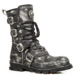 Grey Vintage Stratchy Leather New Rock Comfort Light Boots